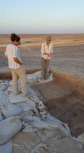 Felicia and Theresa planning their excavation strategy